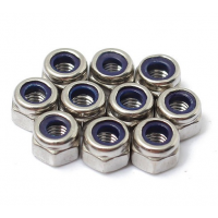 M3x0.5 304 Stainless Steel Nylon Screw Lock Hex Nut Right Hand Thread
